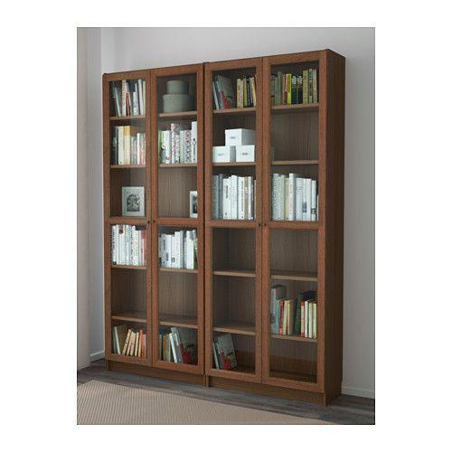 Billy Oxberg Boekenkast Bruin Essenfineer Glas 160x202x28 Cm Ikea Bookcase Glass Shelves Ikea Ikea