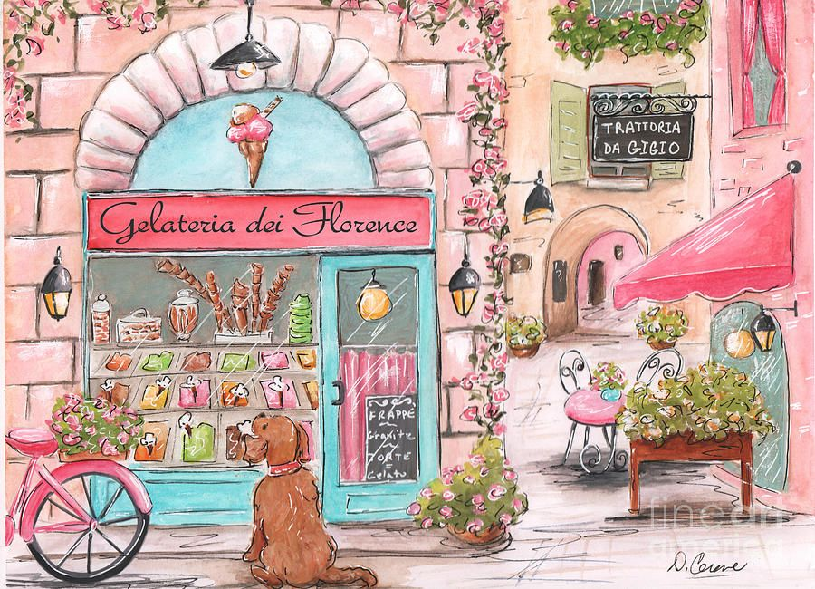 Italian Girl Gelato Shop, Florence, Italy Street Scene