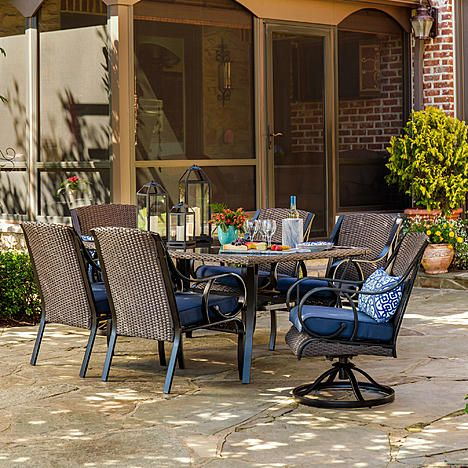 La Z Boy Outdoor Kinsley 7 Pc Dining Set Denim Outdoor Decor Outdoor Furniture Sets Patio Inspiration