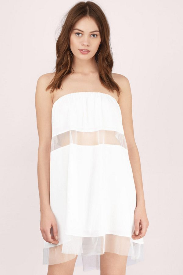 Only Girl Strapless Shift Dress White Strapless Dress Shift Dress Dresses