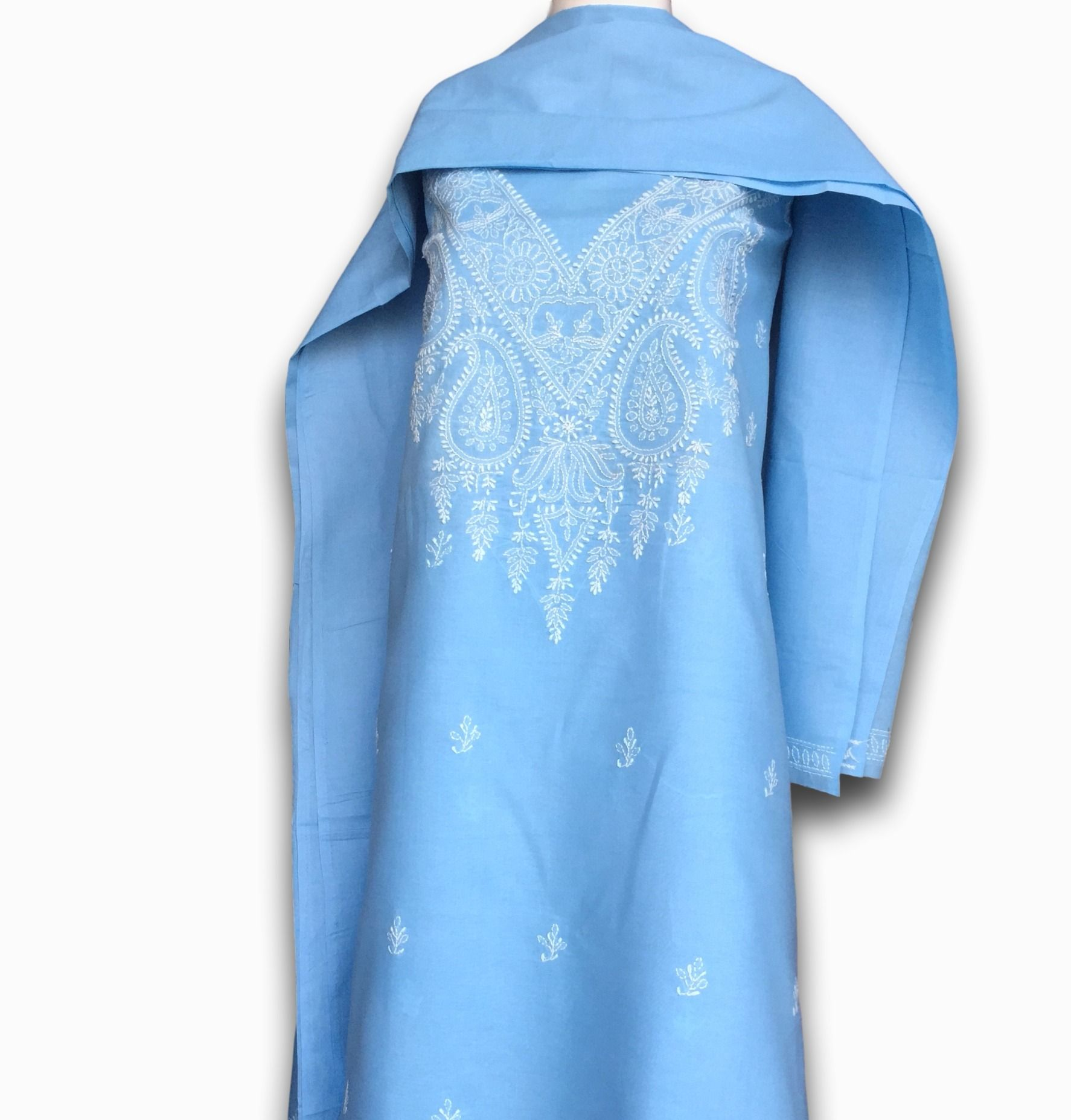579fe2a075 #Ethnic Wear Chikankari Dress Material With Cotton Dupatta - Blue Only on  kraftberry.in