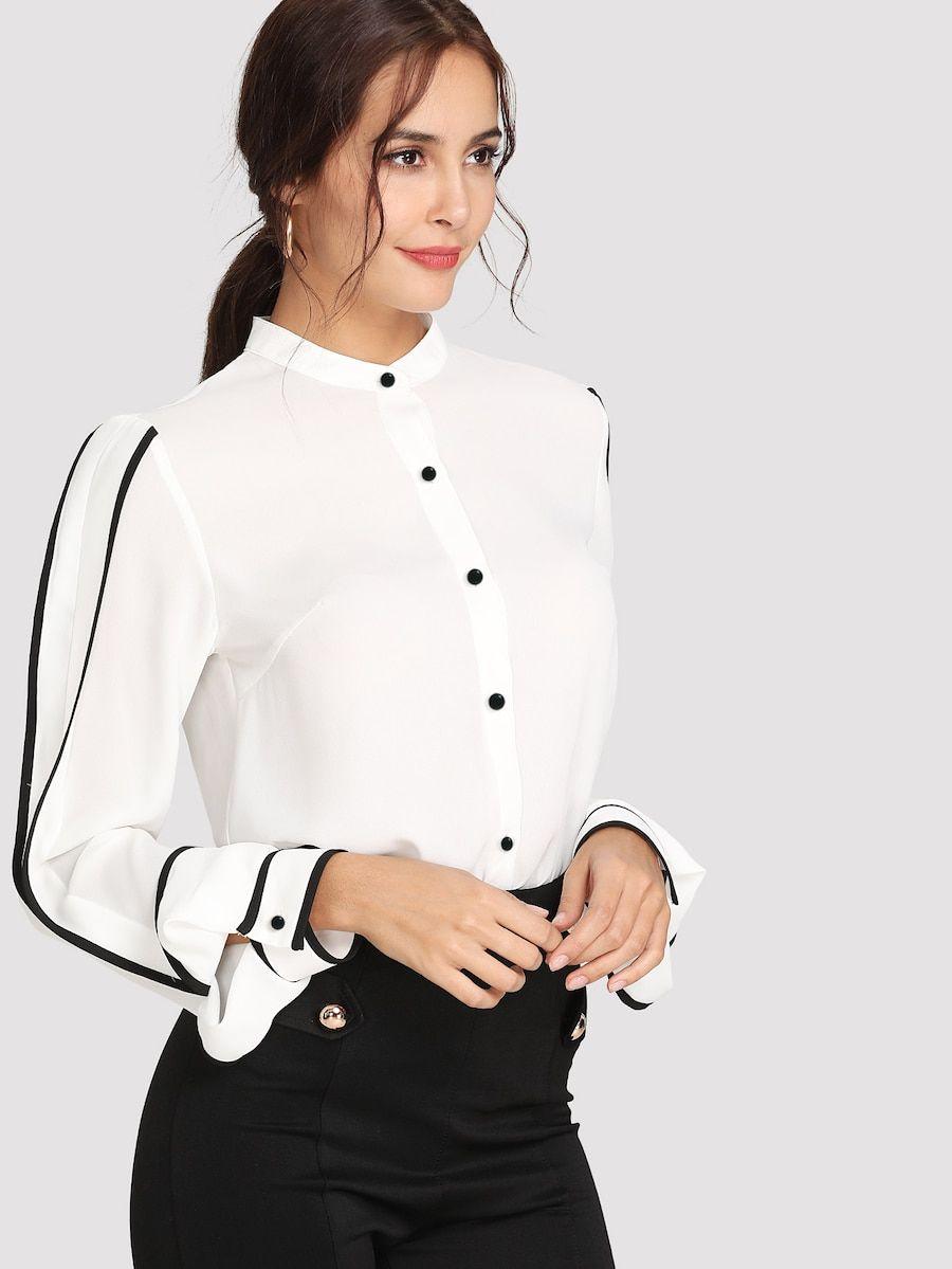 f1fd054062bd7 Contrast Binding Button Through Shirt in 2019 | blouses | Shirt ...