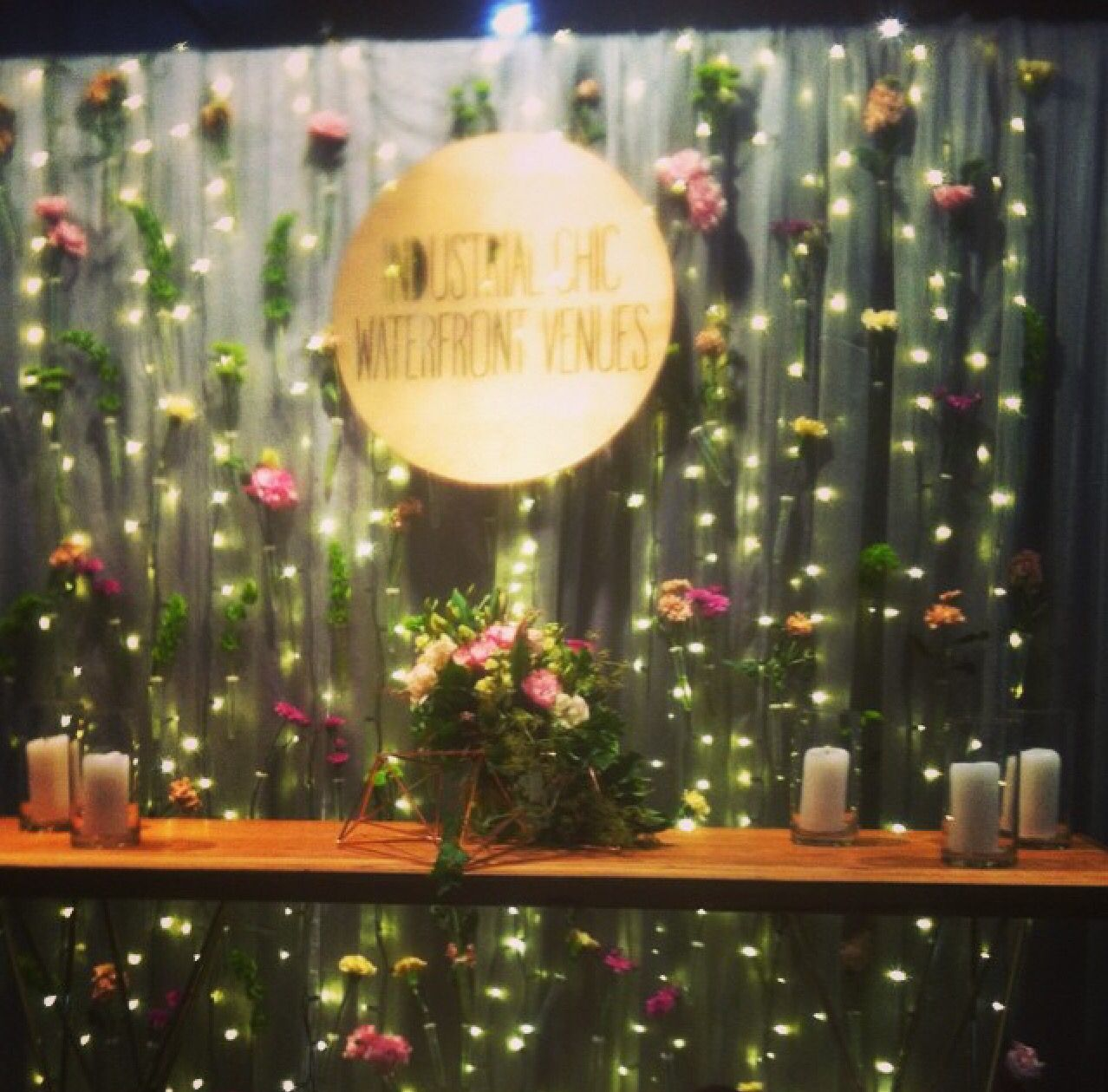 Hanging Floral Curtain With Fairy Lights For Cargo Hall's