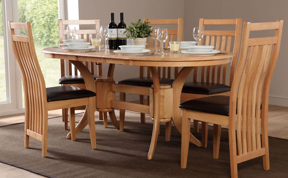 Townhouse Oval Oak Extending Dining Table With 6 Bali Chairs Brown Leather Seat Pads Furniture Choice Oval Table Dining Oak Dining Sets Wooden Dining Room Table