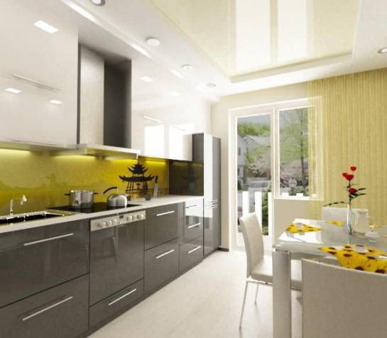 Дизайн кухни 13 м2 с балконом