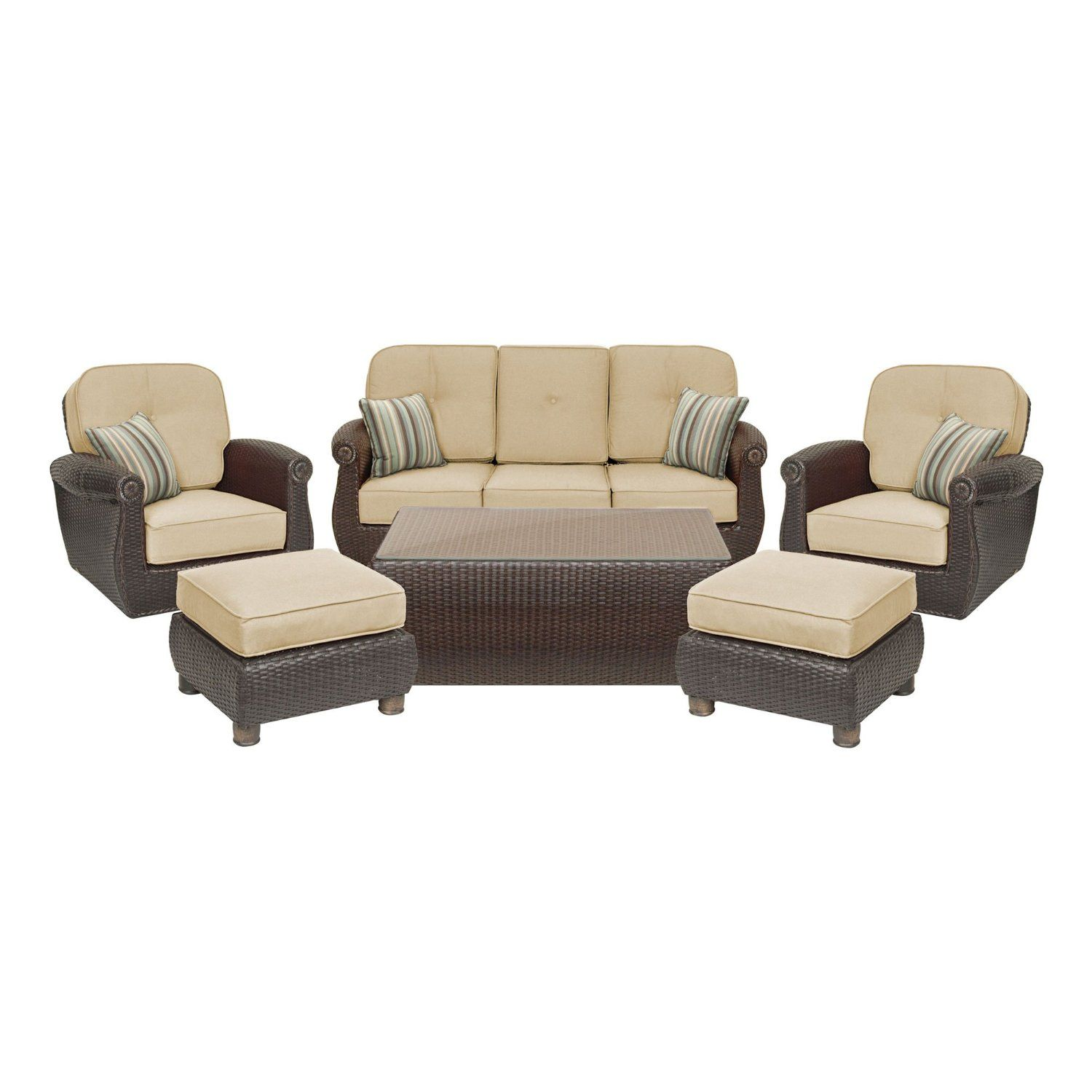 Amazon.com : Breckenridge 6 Piece Patio Furniture Seating Set: Two Swivel  Rockers,