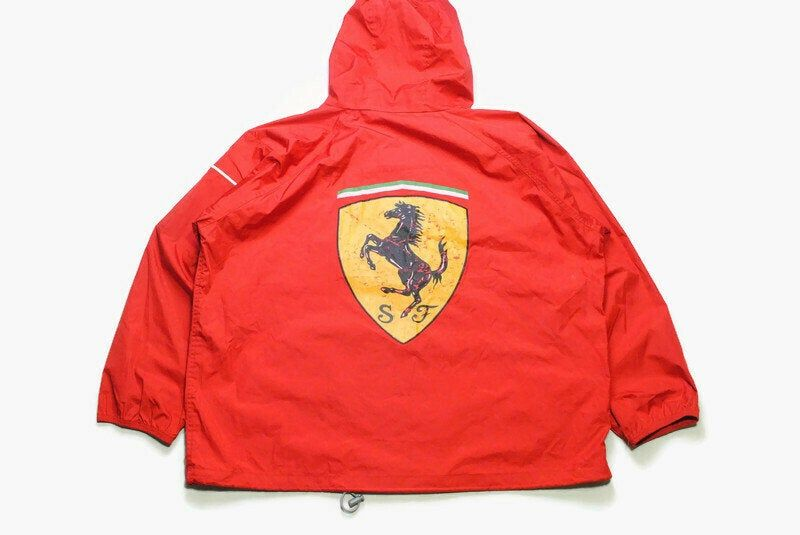 Vintage Ferrari Michael Schumacher 1998 Jacket Size Xxl Red Authentic Race Team Zip Rare Retro 90s Big Logo F1 Formula 1 Coat Raincoat Hood In 2020 Michael Schumacher Jackets Raincoat