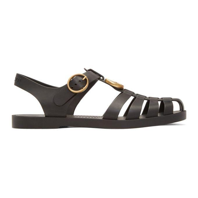 964293eb38cd GUCCI Black Glossy Rubber Sandals.  gucci  shoes