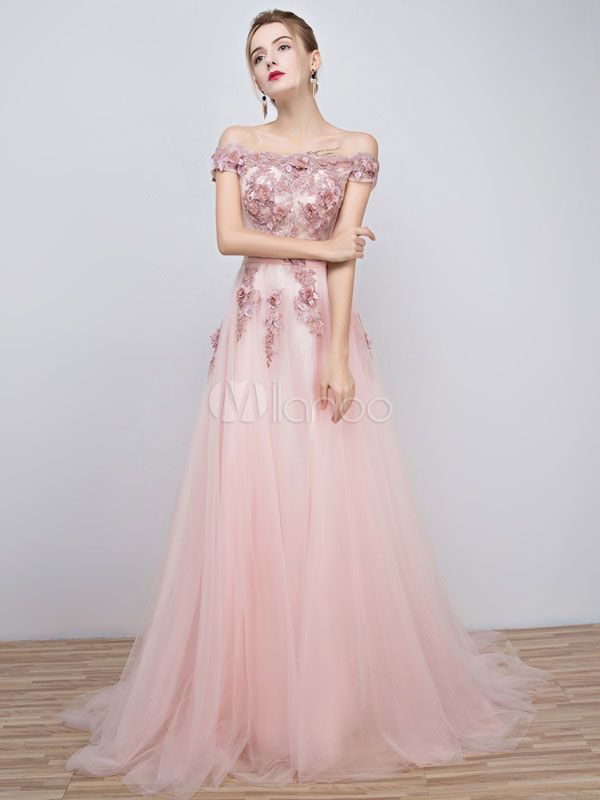 9a5e696a Pink Prom Dresses 2017 Long Tulle Off The Shoulder Prom Dress Lace Applique  Beading Flower Occasion Dress With Train