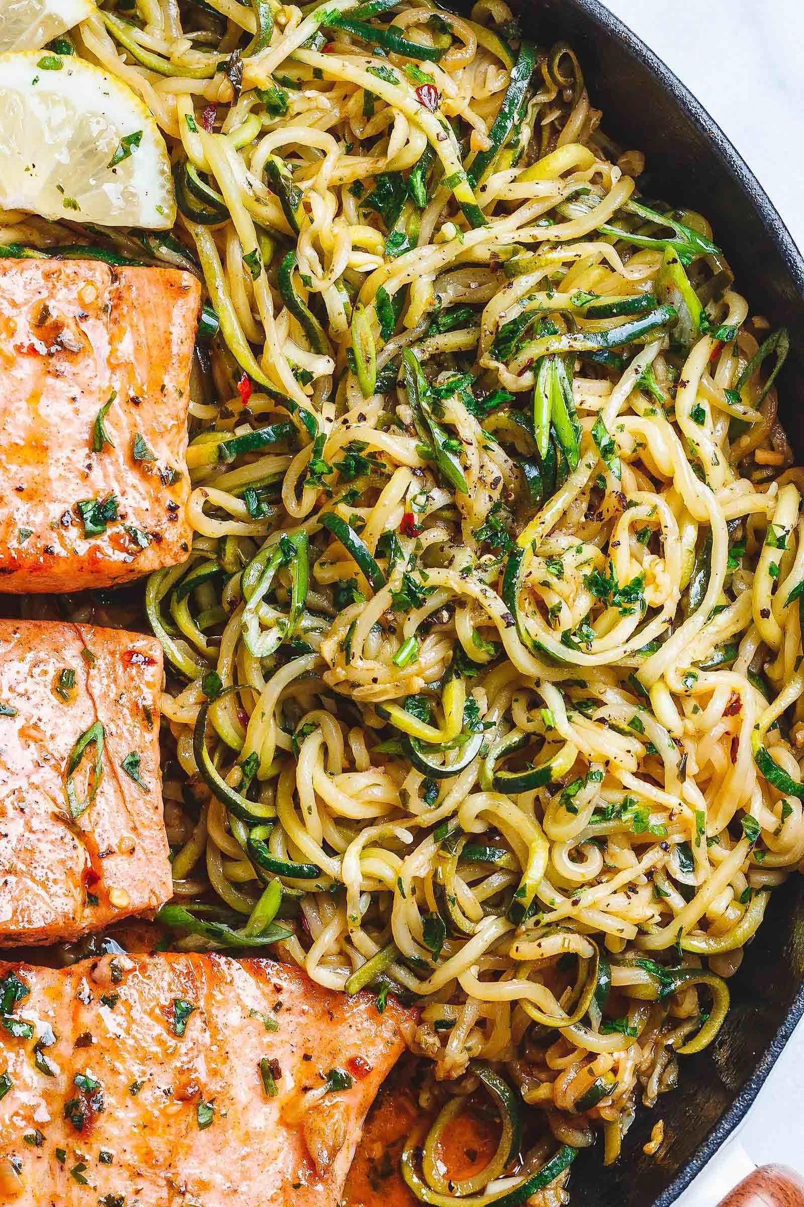 Lemon Garlic Butter Salmon with Zucchini Noodles