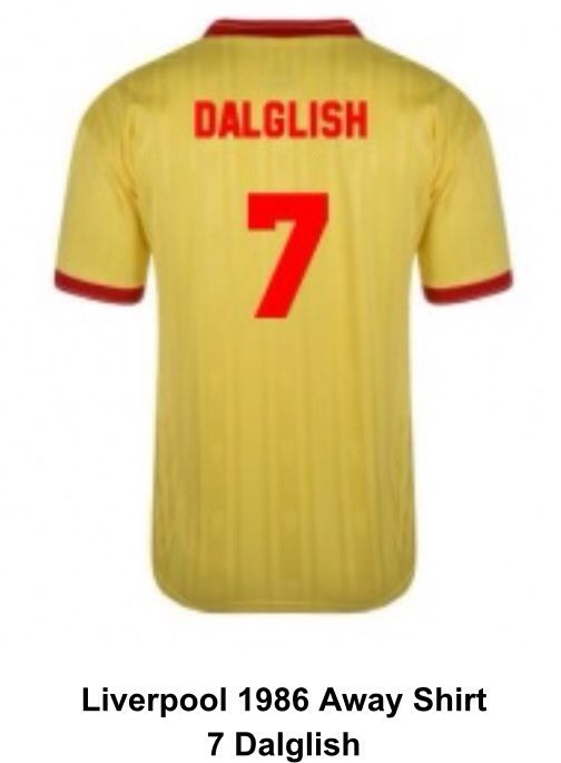b292284f7cf 1986 away shirt 7 King Kenny Liverpool Football Club