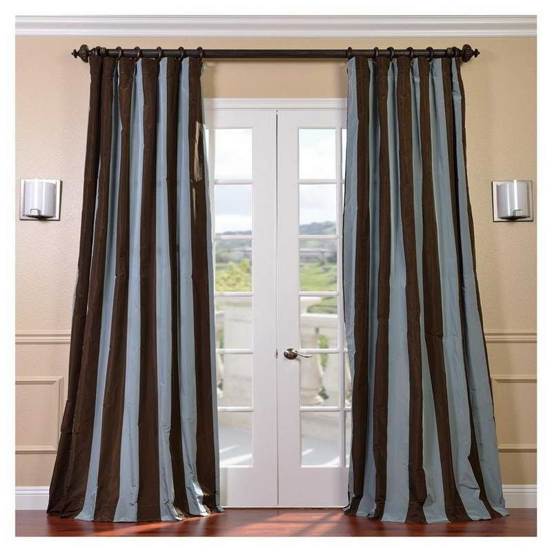 Exceptional Signature Stripe Chocolate/ Blue Faux Silk Taffeta Curtain Panel    Overstock™ Shopping   Great Deals On EFF Curtains