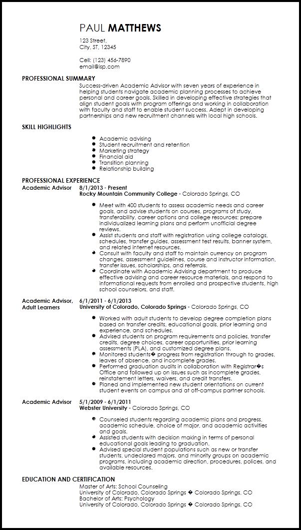 free traditional academic advisor templates