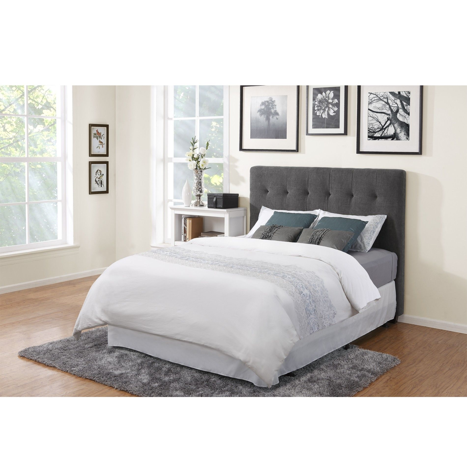 Depiction Of Grey Fabric Headboard In Wide Options Of Design