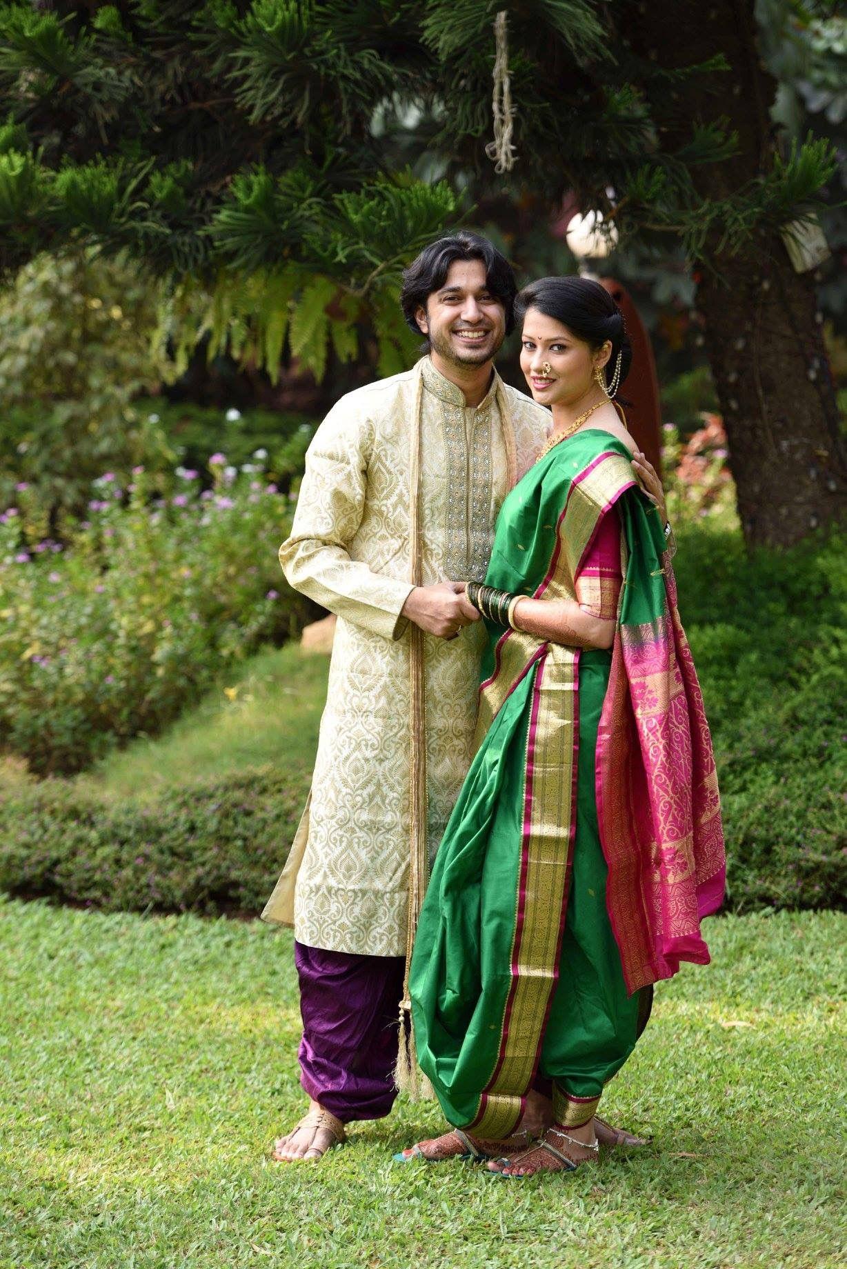 green nauwari 9 wari 9 yard sadi saree worn tirapa