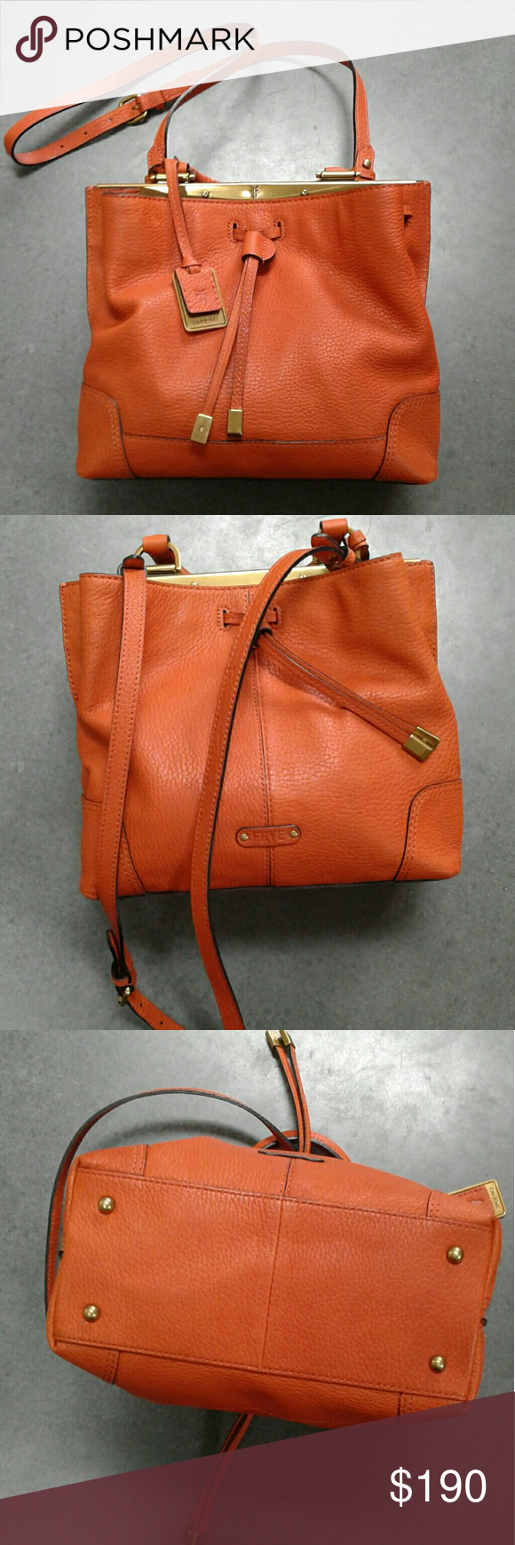 """Frye Fay small crossbody drawstring bag In like new condition. Worn only a couple times. Orange color This small drawstring bag proves it with its chic, built-in frame, artisanal woven handles, and stylized hardware. Made in Italy from incredibly soft, pebbled goat leather, this petite bag makes an impression wherever it goes. - Antique metal hardware - 8 1/2"""" height - 8 1/2"""" width - 21"""" strap drop - Three interior pockets - Drawstring closure Frye Bags Crossbody Bags"""