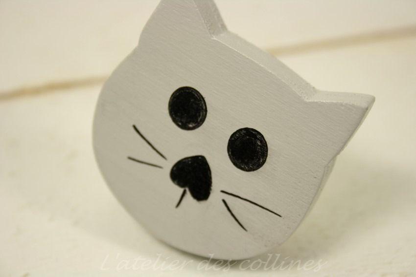 Bouton de tiroir,poignée de meuble chat gris en bois peint  Meubles - meuble en bois repeint
