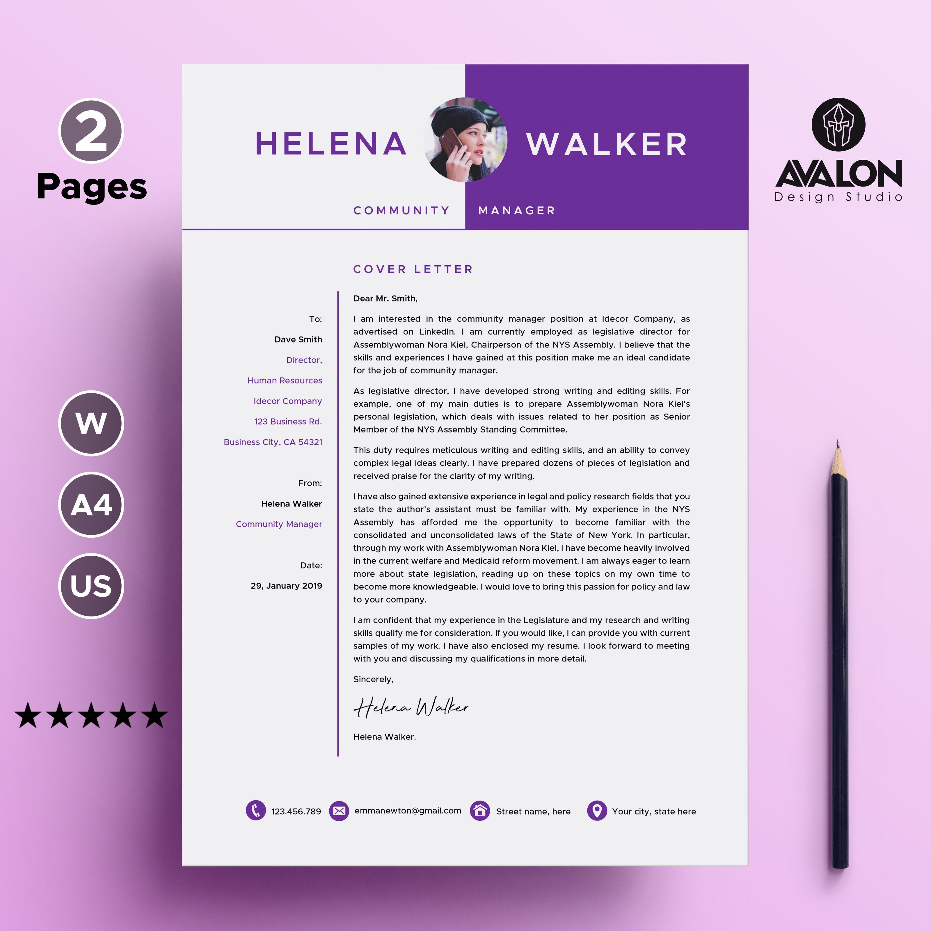 Professional Cover Letter Template For Microsoft Word 2 Pages Full Editable Instant D Professional Cover Letter Template Resume Design Template Resume Words Cover letter template word download