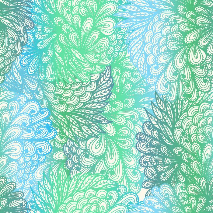 Colorful hand drawn seamless floral doodle pattern with gradients imitating watercolor.