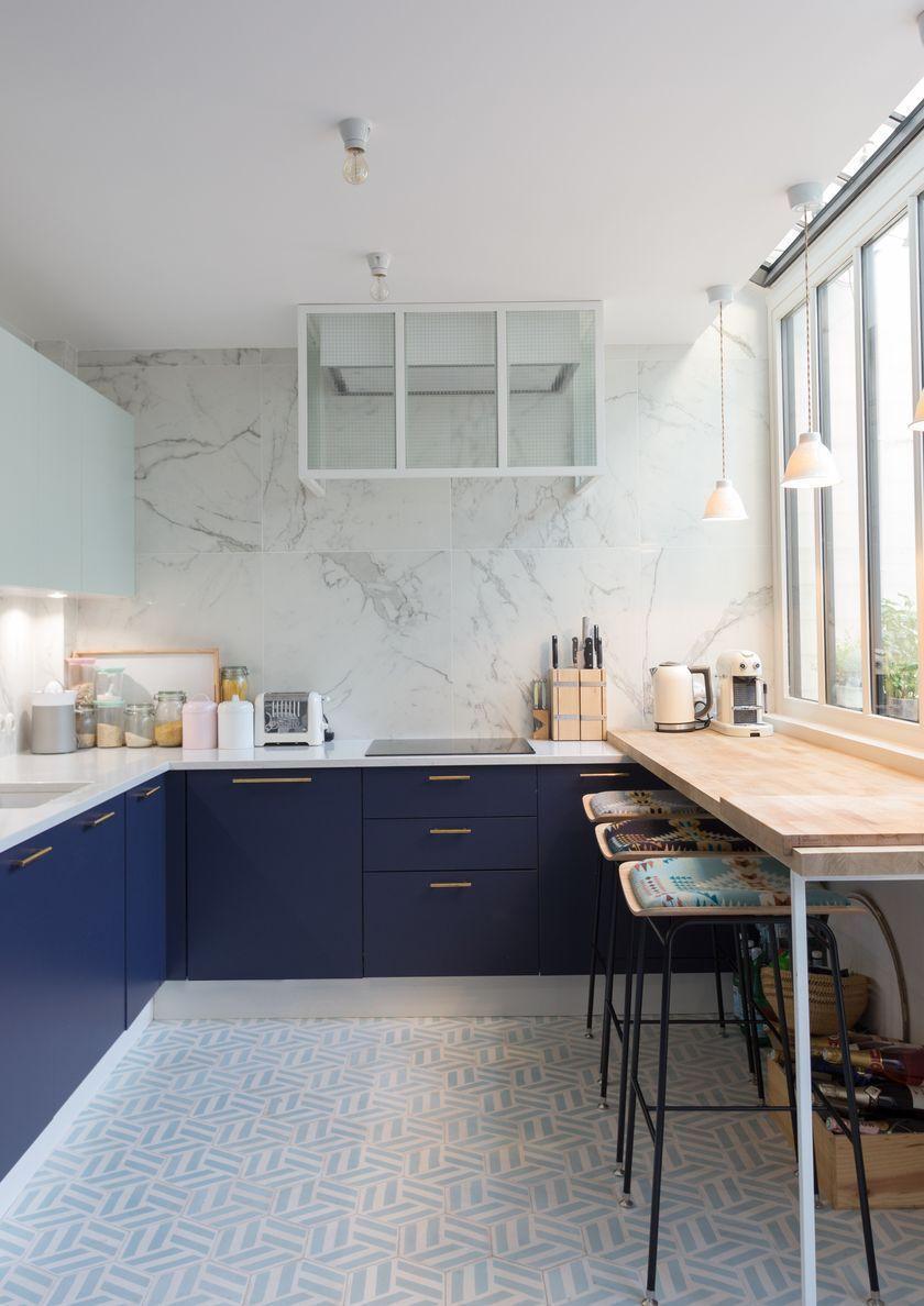 Déco cuisine blanche et bleue - Blog Déco  Cuisine minimaliste