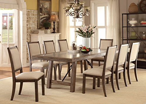 Furniture Of America 9 Piece Acheson Industrial Style Dining Set, Weathered  Elm