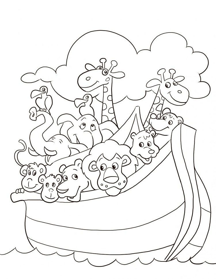 Noahs Ark Animal Coloring Pages For Preschoolers In 2020