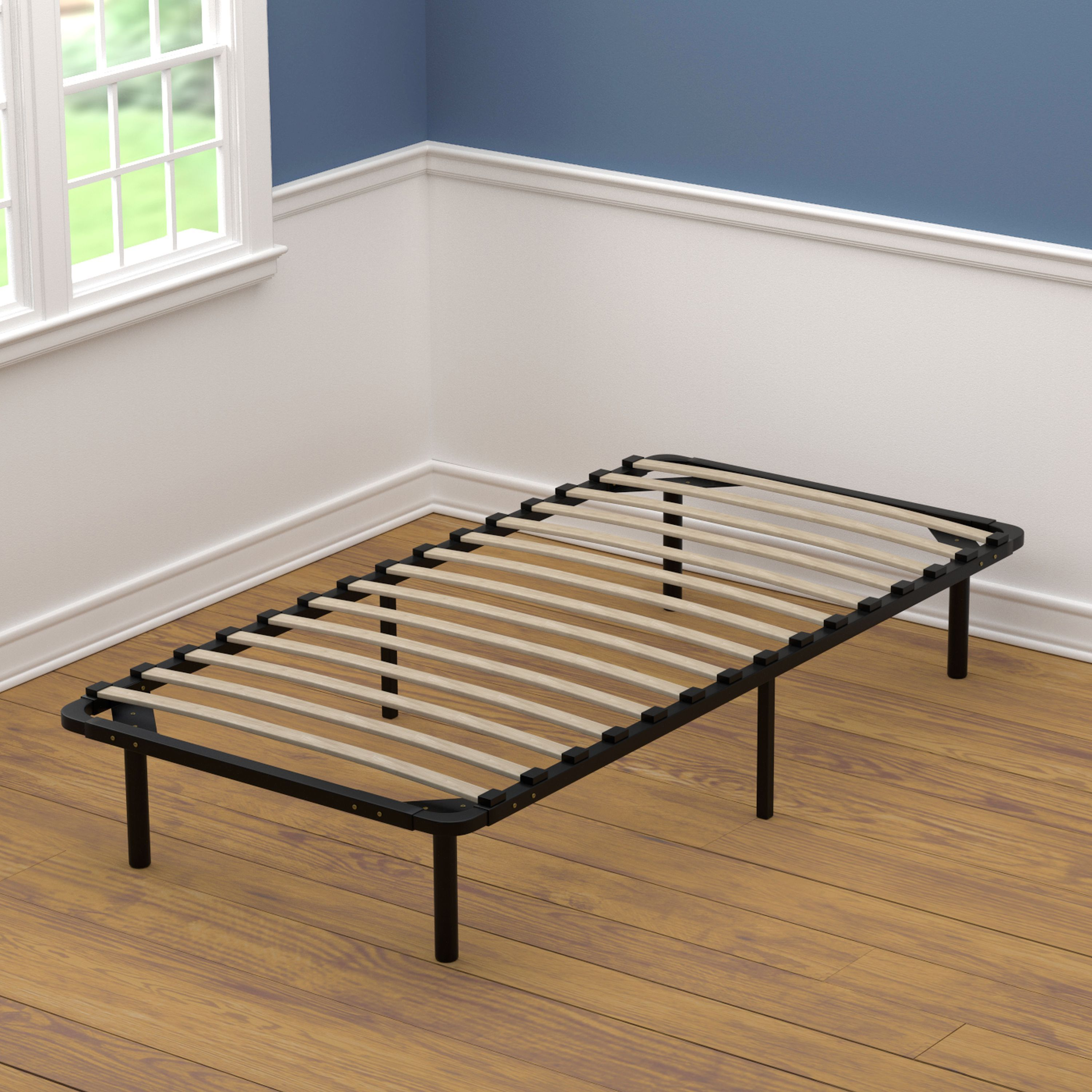 Living XL Twin Size Wood Slat Bed Frame (Wood Slat), Black, Size Twin XL