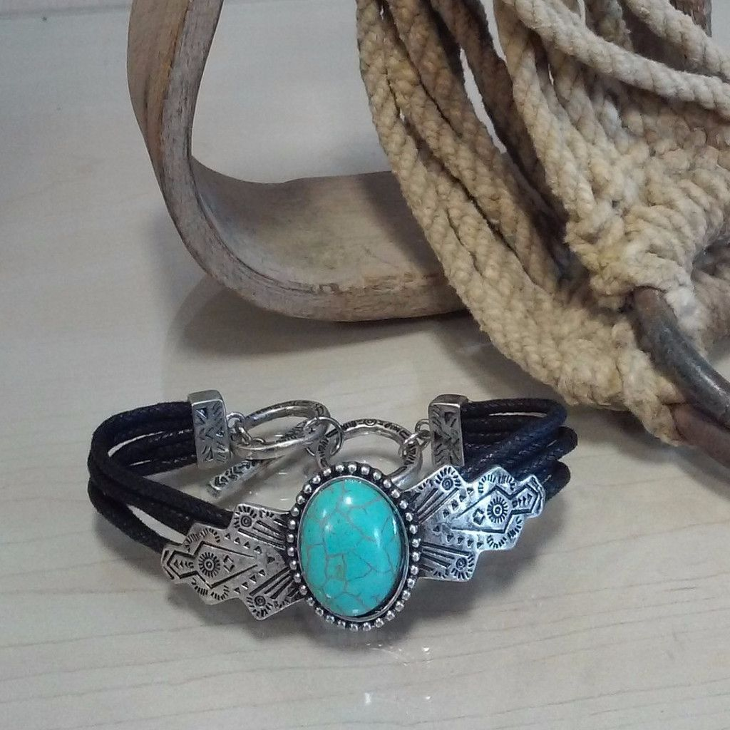 Black Leather Bracelet with Turquoise Center