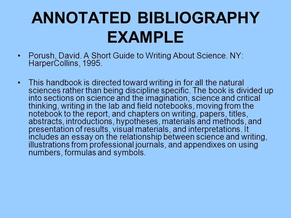 How To Write A Bibliography For A Science Project Writing A Bibliography Annotated Bibliography Example Science Books