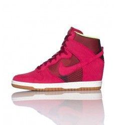 55d6a623cf9b Soldes Nike Dunk Sky High (Haute) Baskets Compensées Femme Code de Style   543258601 Rose Bourgogne Vert Lime Gomme Blanche-20