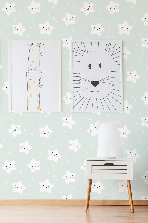 Pastel Sterren Verwisselbare Wallpaper Kwekerij Behang Schil Etsy Behang Verwijderen Wallpaper Kinderen Behang