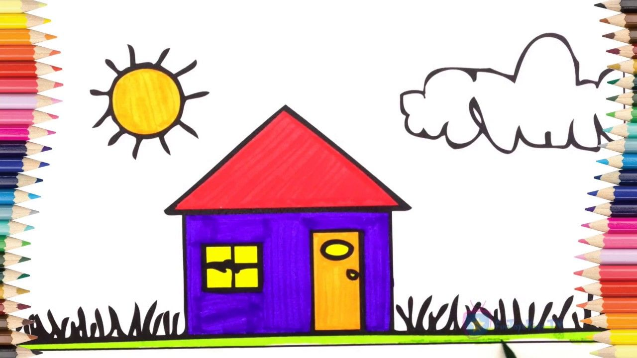 Paint coloring pages - Learn colors - Train Engine Rainbow House ...