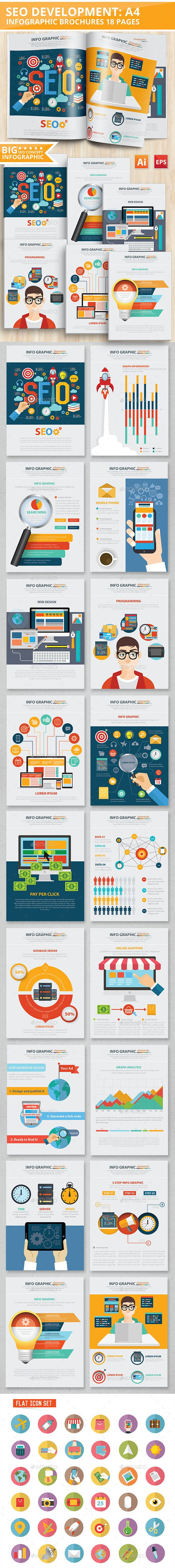 SEO Development Infographic Design 18 Pages Template Vector EPS, AI #design Download: http://graphicriver.net/item/seo-development-infographic-design-18-pages/12592065?ref=ksioks
