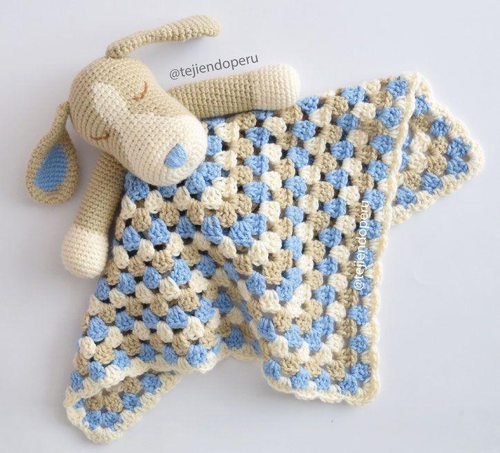 Colcha con perritos o manta de apego tejida a crochet para - Manta de bebe a ganchillo ...