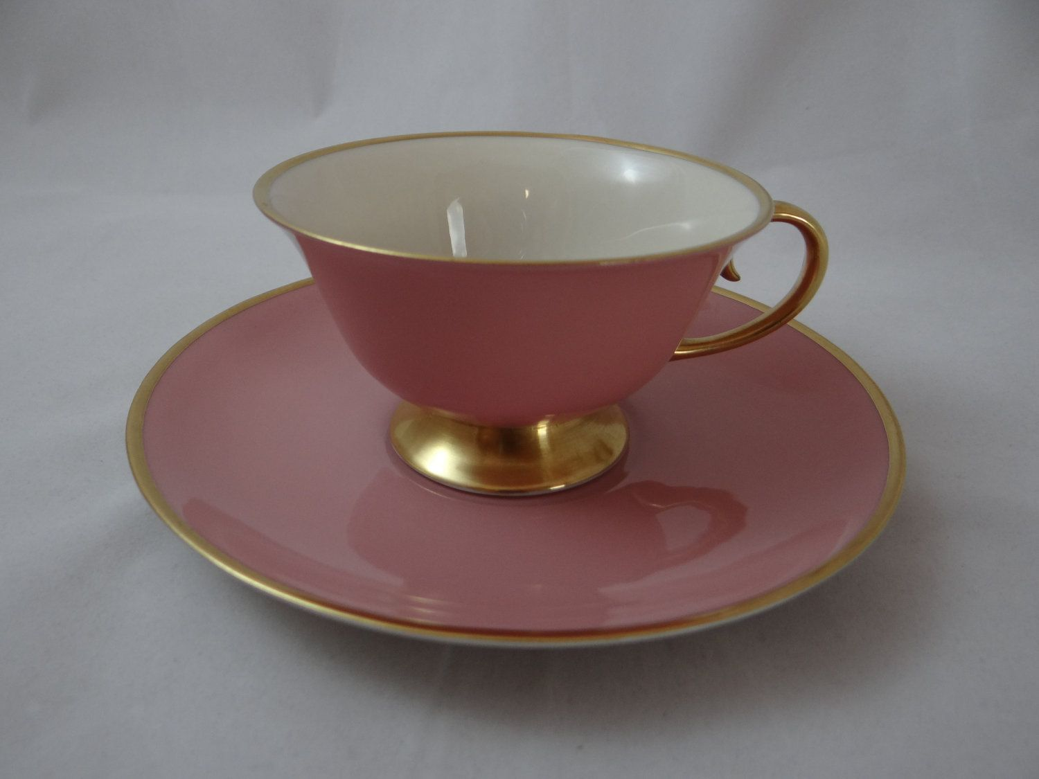 Vintage Flintridge Pink Teacup and Saucer c1960s