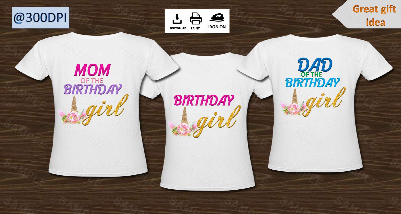 2f365491 Unicorn , Iron on transfers, Family Unicorn, set of 3 iron on shirts, Unicorn  Birthday Girl , Unicorn Dad, Unicorn Mom, Digital files