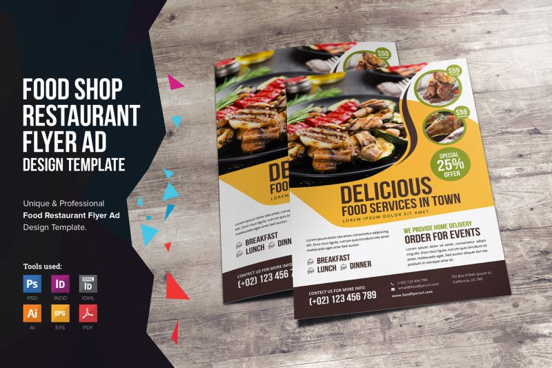 Food Restaurant Flyer Design v2 By Jabinh7 TheHungryJPEG