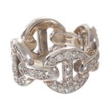 HOORSENBUHS White Gold & Diamond Antiquated Quad-Link Ring