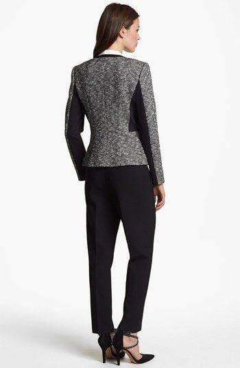Classiques Entier® Knit Jacket, Silk Blouse & Paige Denim Skinny Jeans | Nordstrom