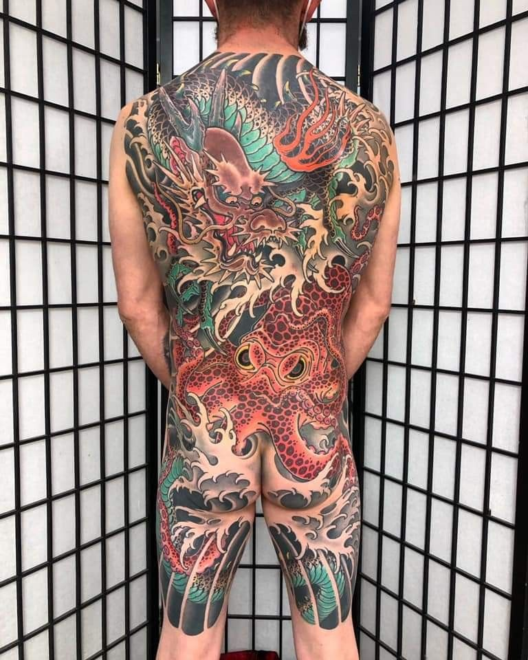 Pin By Spring Tattoo On Inspirational Japanese Tattoos In 2020 Full Body Tattoo Japanese Tattoo Body Tattoos