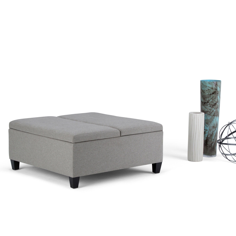 Strange Wyndenhall Tyler Coffee Table Storage Ottoman Light Grey Inzonedesignstudio Interior Chair Design Inzonedesignstudiocom