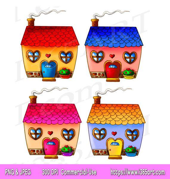Cute House Clipart, House Clip art, houses, Home Sweet Home ...