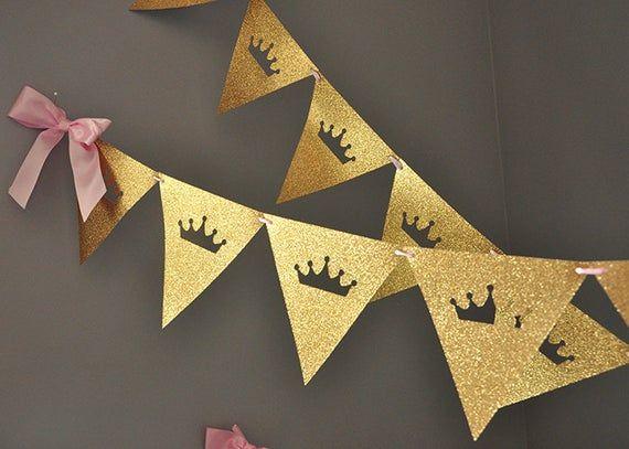Photo of Pink and Gold Princess Bunting Banner. Tiara Garland.