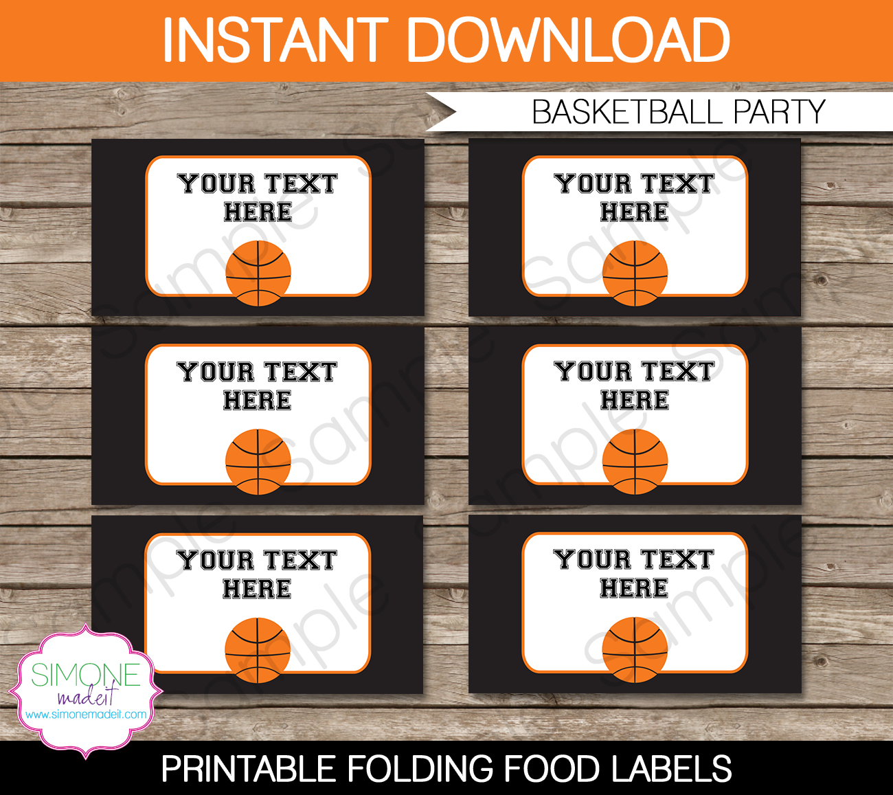 Basketball Party Food Labels Template