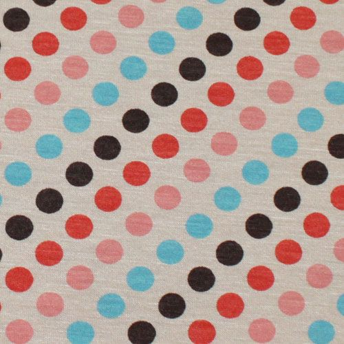 Organic Polka Dots on Cafe Au Lait Cotton Jersey Knit Fabric $5.95