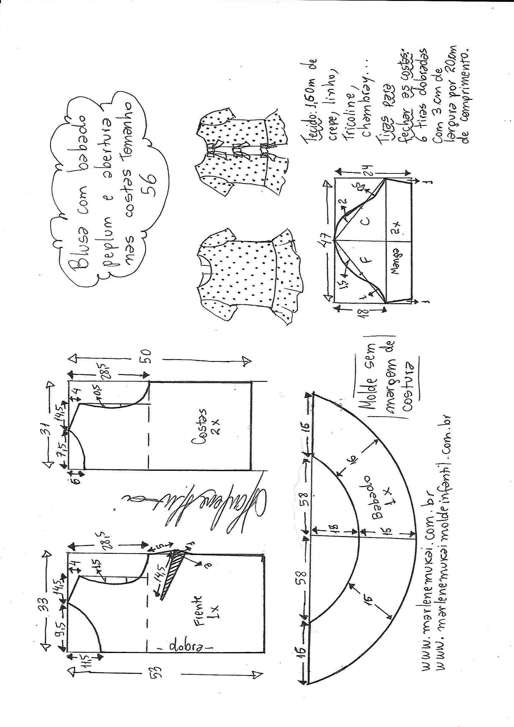 Pin de Ana Maria en blusas | Pinterest | Patrones, Molde y Costura