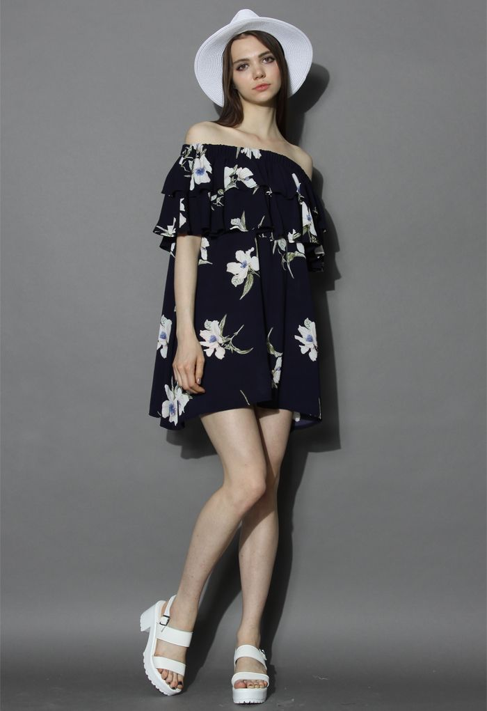 Flower Sketch Off-shoulder Dress in Navy - New Arrivals - Retro, Indie and Unique Fashion
