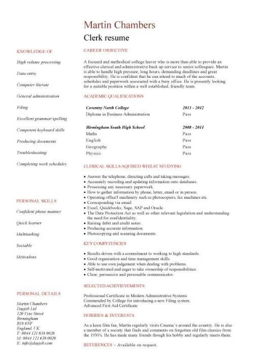 A High School Resume With No Experience Best Job Resume