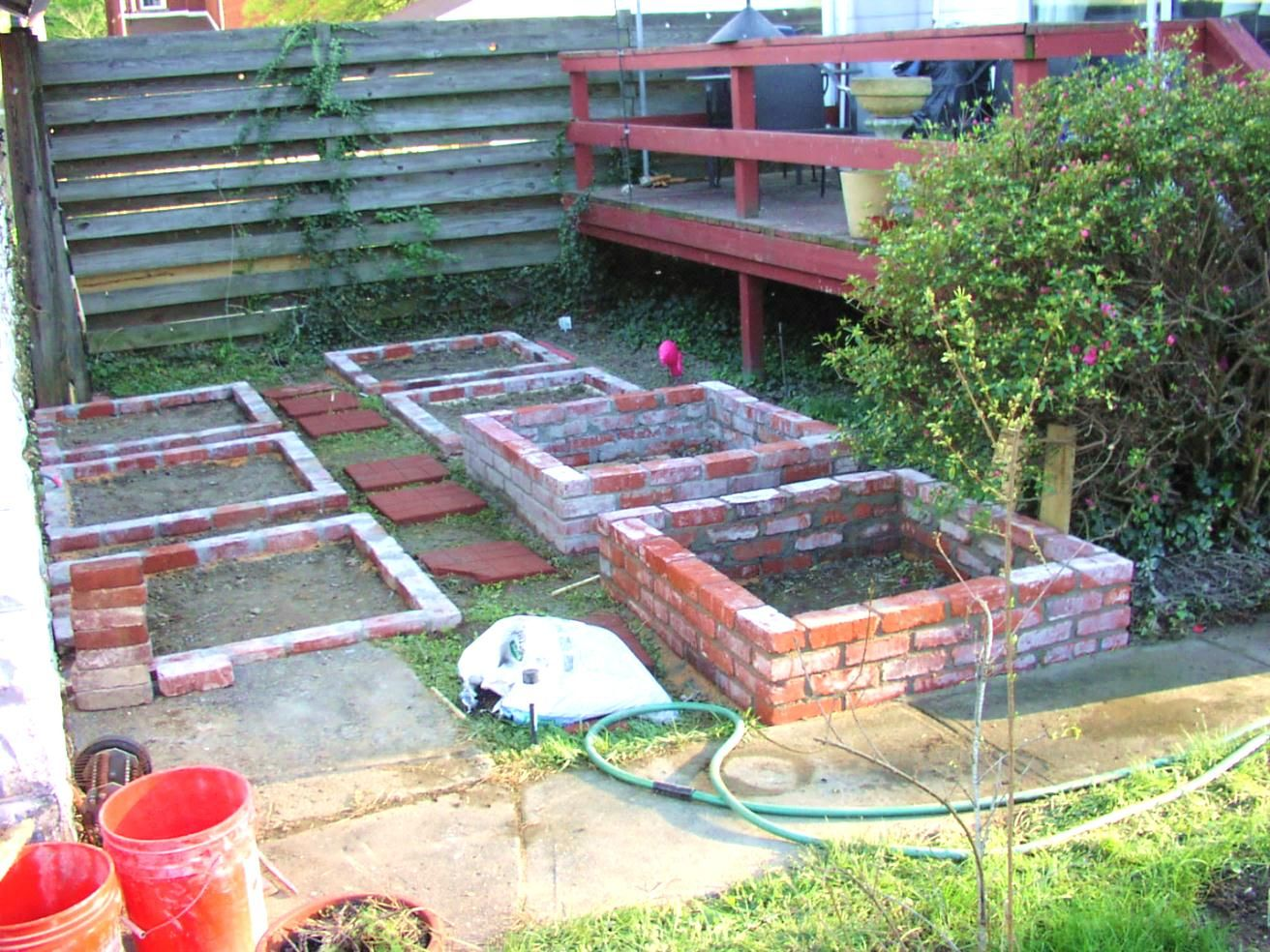 the making raised beds made from the recycled bricks 2012 - Garden Ideas 2012