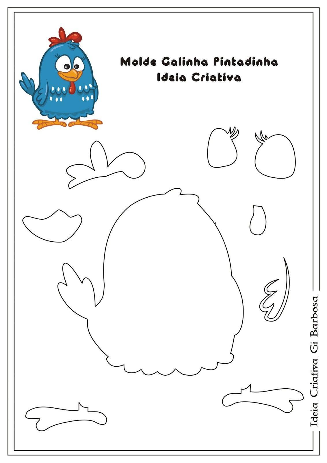 Moldes da galinha pintadinha para EVA  72bf60ccebbbf
